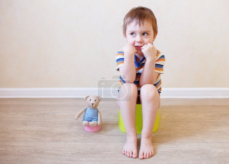 Child sitting on the pot in the company of his bel...