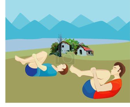 Photo pour Cet exercice a également Massages des organes de l'Abdomen et les aide à libérer le gaz ou le vent de la Intestines.It se compose de deux exercices qui peuvent s'expliquer comme suit: - Répétez cet exercice dix fois. - image libre de droit