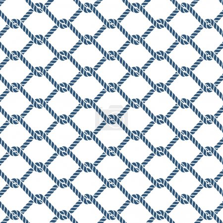 Marine rope knot seamless vector pattern