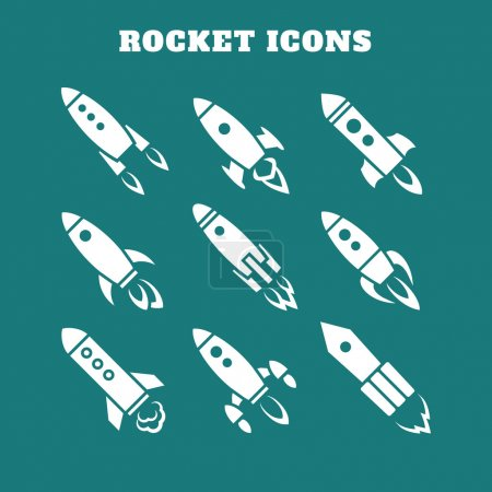 Set of nine rocket or spaceship icons isolated