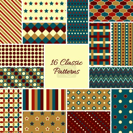 Illustration for Set of vintage vector seamless patterns in retro colors. Endless texture can be used for web design; printing onto fabric and paper or scrapbooking. Swatches included - Royalty Free Image