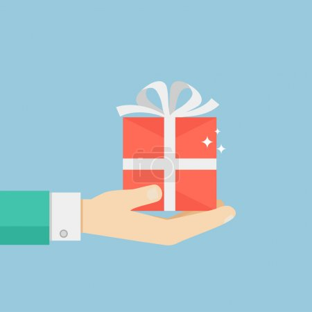 Illustration for Hand holding or offering gift or present. Vector illustration in flat style. - Royalty Free Image