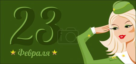23 february holiday army day in Russia tricolor vector card with pretty blonde officer woman