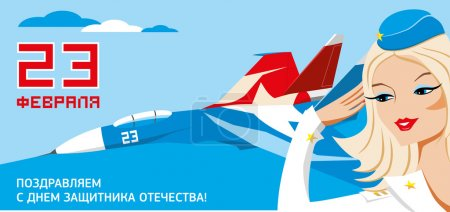 23 february card for russian national holiday - Russia army day protectors of homeland with jet fighter plane and pretty blonde female soldier on red blue background