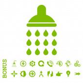 Sprcha ploché glyf ikona s bonusem