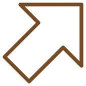 Šipka doprava nahoru kontury vektorové ikony