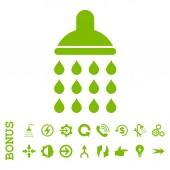 Sprcha ploché vektorové ikony s bonusem