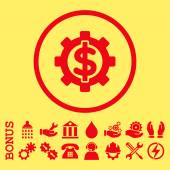 Financial Options vector icon Image style is a flat pictogram symbol inside a circle red color yellow background Bonus images are included