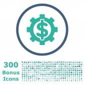 Financial Options rounded icon with 300 bonus icons Vector illustration style is flat iconic bicolor symbols cobalt and cyan colors white background