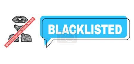 Illustration pour Discours Cadre bulle bleue sur liste noire et réseau policier sur liste noire. Cadre et la zone de couleur sont déplacés vers le texte Blacklisted, qui est situé à l'intérieur de la bannière de couleur bleue. - image libre de droit
