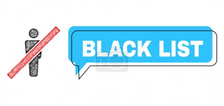Illustration pour Chat Black List blue bubble message and net remove man. Le cadre et la zone colorée sont décalés pour la légende de la liste noire, qui est située à l'intérieur de la bulle de couleur bleue. Étiquette de citation vectorielle à l'intérieur du message. - image libre de droit