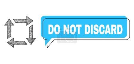 Illustration pour Chat Ne pas jeter cadre bulle bleue et réseau recycler. Le cadre et la zone colorée sont mal placés pour ne pas jeter la légende, qui est située à l'intérieur de la bulle bleue. - image libre de droit