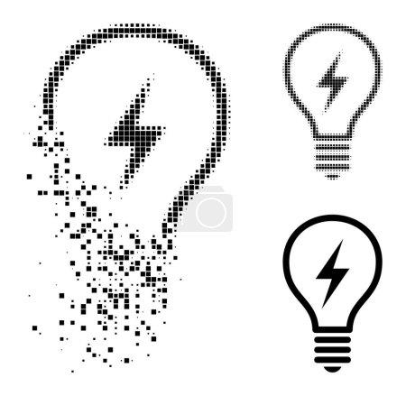 Illustration pour Glyphe d'ampoule électrique pixellisée dissoute avec effet de destruction et image vectorielle demi-teinte. Effet de disparition pixellisé pour ampoule électrique montre la vitesse et le mouvement des concepts de cyberespace. - image libre de droit