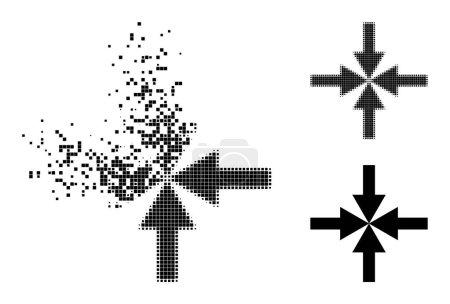 Illustration pour Pictogramme de flèches de compression pixelisées endommagées avec effet de vent et image vectorielle demi-teinte. Effet de dématérialisation pixellisé pour les flèches de compression montre la vitesse et le mouvement des éléments du cyberespace. - image libre de droit