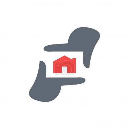 Photography logo template, Photographer hand represent camera