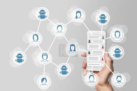 Photo pour Chatbot concept avec messagerie instantanée affichée sur téléphone intelligent - image libre de droit