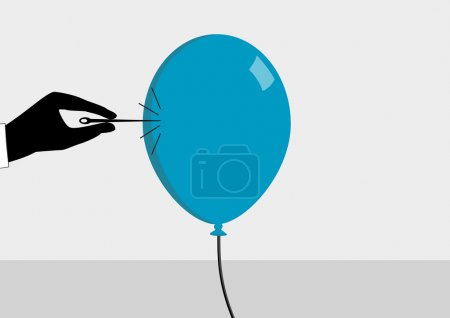 Illustration for About to burst the bubble. Hand with needle and ballon. Vector illustration for financial crisis concept - Royalty Free Image
