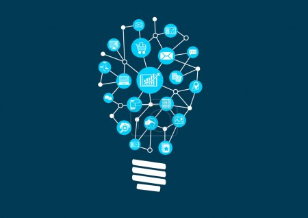 Illustration for Innovative ideas for big data and predictive analytics in a digital world. - Royalty Free Image