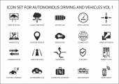 Self driving and autonomous vehicles vector icon set