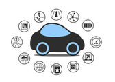 Self driving car and autonomous vehicle concept Icon of driverless car with sensors like lane assistance head up display wireless connectivity