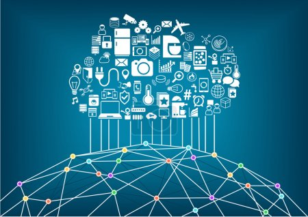 Smart home and internet of things concept. Cloud computing to connect global wireless devices with each other. Wireframe of world with various connection points and lines between cities and people.