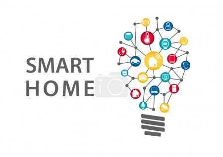 Smart home automation concept. Vector illustration of connected household appliances