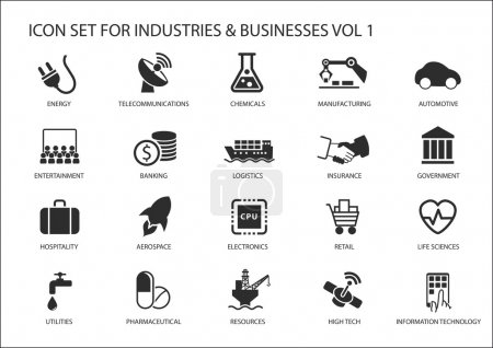 Photo for Business icons and symbols of various industries / business sectors like financial services industry, automotive, life sciences, resources industry, entertainment industry and high tech - Royalty Free Image