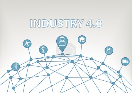 Industry 4.0 vector illustration background with world grid