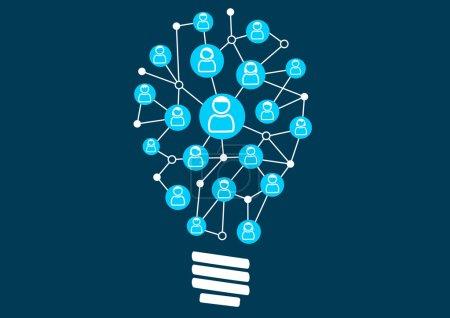 Illustration pour Social crowdsourcing and ideation. Swarm intelligence par la communauté sociale d'une entreprise ou d'une entreprise. Illustration vectorielle de l'ampoule pour la créativité . - image libre de droit