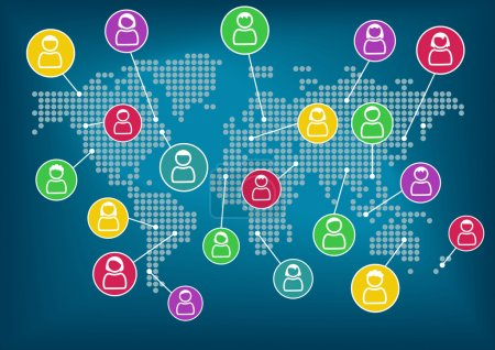 Illustration for Global network of collaboration within connected workforce - Royalty Free Image