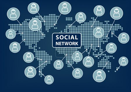 Illustration for Social network concept. Technology background. Vector. - Royalty Free Image