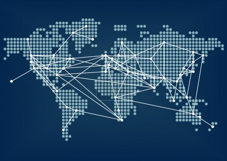 Illustration for Global network connectivity represented by dark blue world map - Royalty Free Image