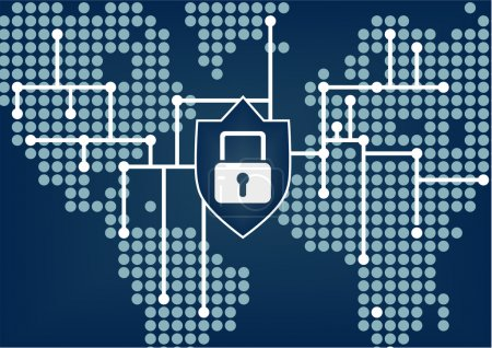 Illustration pour Sécurité informatique pour l'organisation mondiale afin de prévenir les violations de réseau - image libre de droit