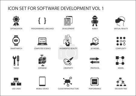 Illustration pour Ensemble d'icônes de développement logiciel. Symboles vectoriels à utiliser pour le développement de logiciels et les technologies de l'information - image libre de droit