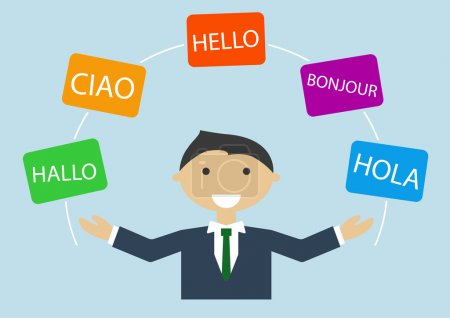 Illustration for Concept of multi-lingual business man speaking many different languages - Royalty Free Image