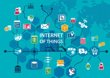 Illustration for Internet of things IOT conceptual background with workflow of end to end supply chain as vector illustration - Royalty Free Image