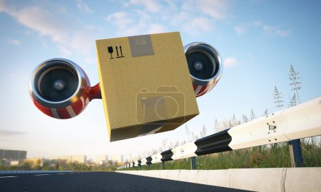 Photo for Package shipment, freight transportation and delivery concept, cardboard box run along the road - Royalty Free Image