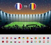 Soccer match France 2016 with excited crowd of people at a soccer stadium Soccer arena