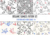 Origami seamless pattern set Set contains six seamless vector patterns with paper cranes