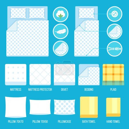 Illustration pour Ensemble de vecteurs de literie, serviettes avec des icônes simples et éléments. Plat style. - image libre de droit