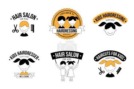 Illustration pour Ensemble de logo de salon de coiffure pour enfants graphiques - image libre de droit