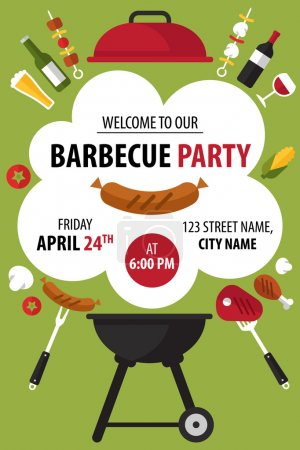 Illustration for Colorful barbecue party invitation. Vector illustration. - Royalty Free Image