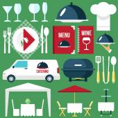 Catering equipment icons flat style