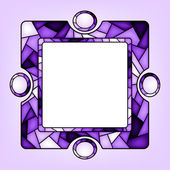 Colorful illustration background invitation or greeting card template with purple ornament and square frame for the text Stained glass window mosaic style