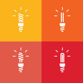 Icons of energy saving lamp on red and yellow background