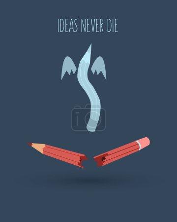 Illustration pour Idées ne meurent jamais fond. Crayon brisé sur fond bleu foncé - image libre de droit
