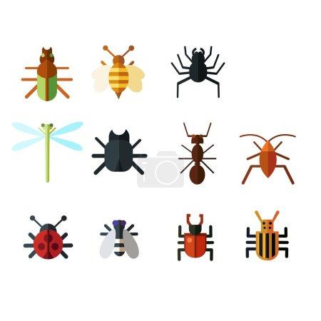 Illustration pour Ensemble d'insectes colorés sur fond blanc - image libre de droit