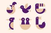 Birds geometric design set