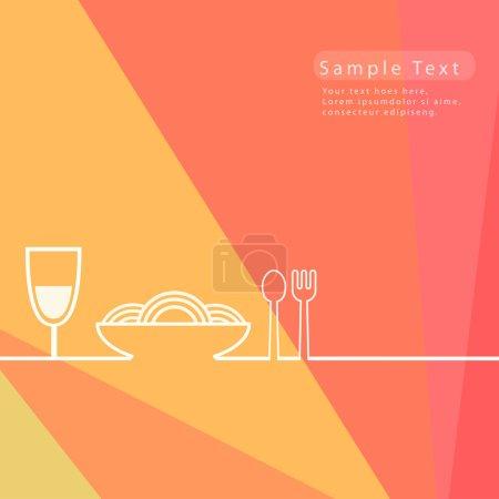 Illustration pour Abstrait fond de restaurant alimentaire dans des couleurs vives - image libre de droit