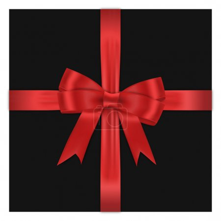 Illustration for Red bow on black box against white background - Royalty Free Image